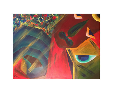 ABSTRACT (ART_5750_33192) - Handpainted Art Painting - 40in X 30in (Framed)