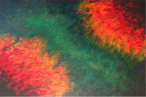 ABSTRACT (ART_5750_33190) - Handpainted Art Painting - 30in X 20in (Framed)