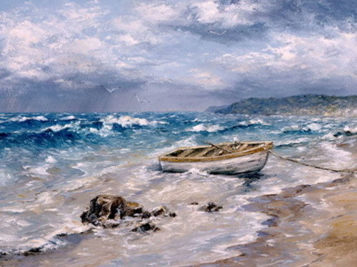 32landscape12 - 32in X 24in,32landscape12_3224,Oil Colors,Canvas,Seascape,Boat in Sea,Blue,Museum Quality - 100% Handpainted,Violet, Mauve,80X60 Size,Landscape and Seascape;Latest Collection Art Canvas Painting Buy canvas art painting online for sale
