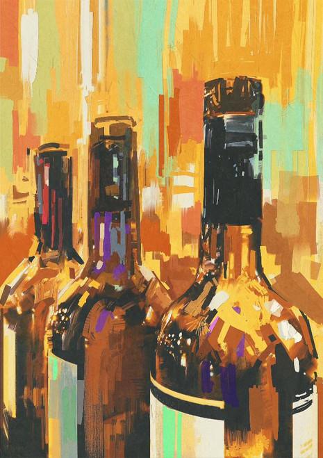 3 Bottles Of Wine (PRT_965) - Canvas Art Print - 17in X 24in