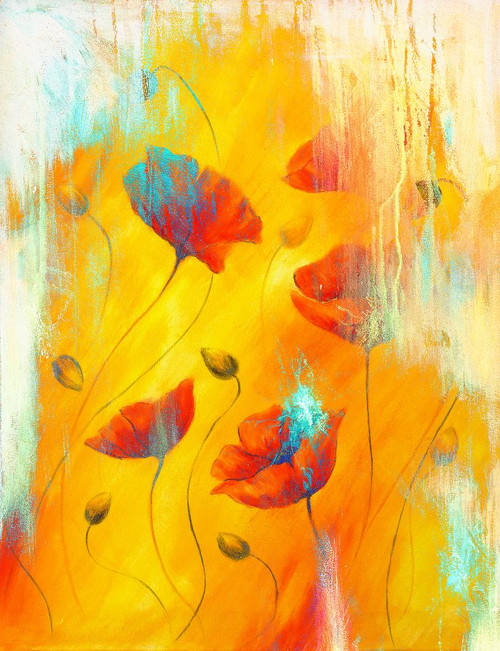 Red Poppy Abstract (PRT_966) - Canvas Art Print - 21in X 28in