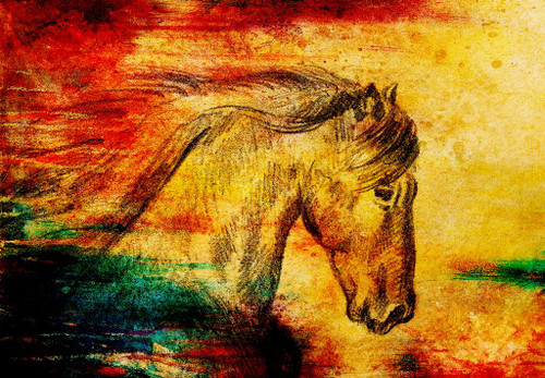 Abstract Horse On Old Paper (PRT_968) - Canvas Art Print - 26in X 18in