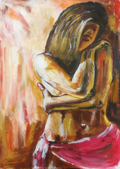 A girl in pink (ART_5819_33733) - Handpainted Art Painting - 8in X 12in