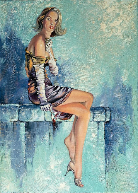 The Beautiful Girl With A Glass Of Wine (PRT_989) - Canvas Art Print - 15in X 21in