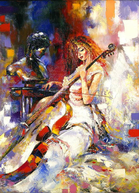The Musical Lady (PRT_990) - Canvas Art Print - 14in X 19in
