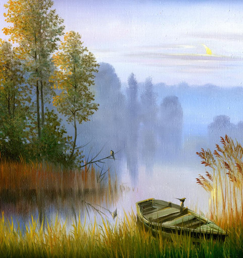 The Boat On The Bank Of The Lake (PRT_994) - Canvas Art Print - 21in X 23in