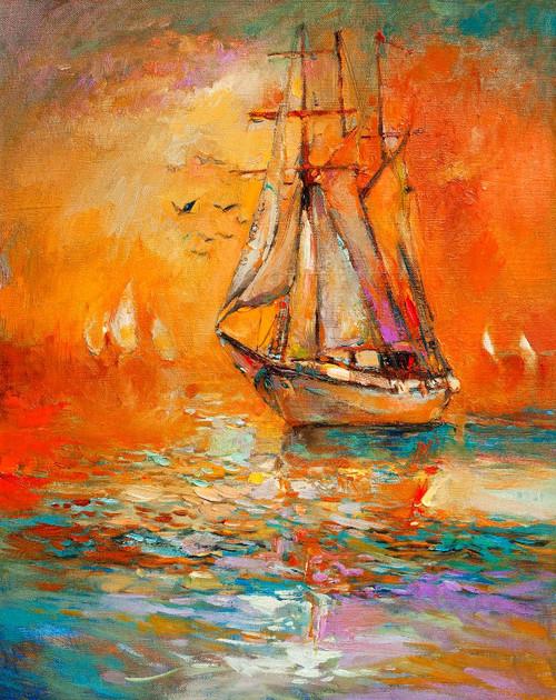 Fishing Boat In Harbor (PRT_997) - Canvas Art Print - 16in X 20in