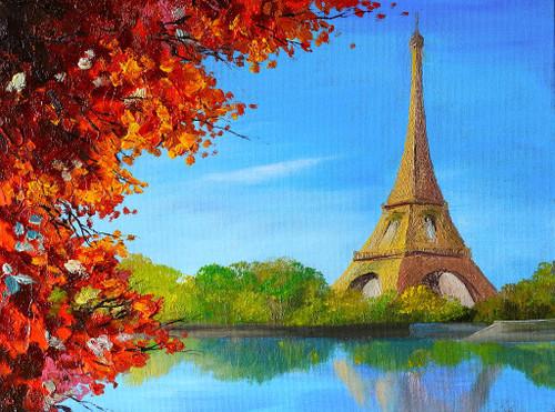 Lake Near The Eiffel Tower (PRT_1001) - Canvas Art Print - 20in X 15in