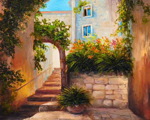 Summer Street With Blooming Flowers (PRT_1003) - Canvas Art Print - 25in X 20in