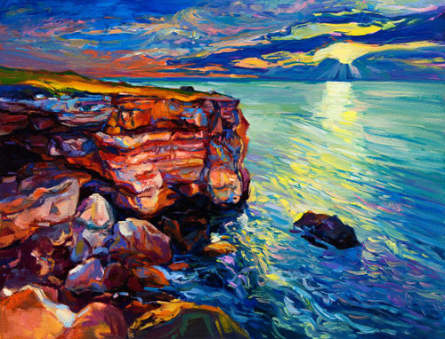 Ocean And Cliffs (PRT_1005) - Canvas Art Print - 20in X 16in