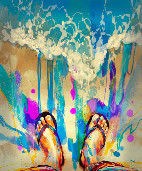 Colorful Feet In Flip-flops (PRT_1007) - Canvas Art Print - 17in X 21in