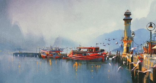 Fishing Boats In Harbor At Morning (PRT_1008) - Canvas Art Print - 26in X 14in