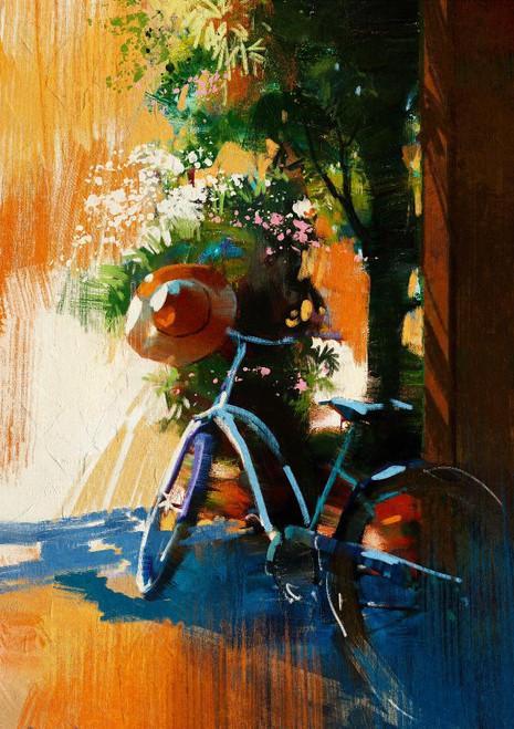Vintage Bicycle And Old Hat (PRT_1010) - Canvas Art Print - 17in X 24in