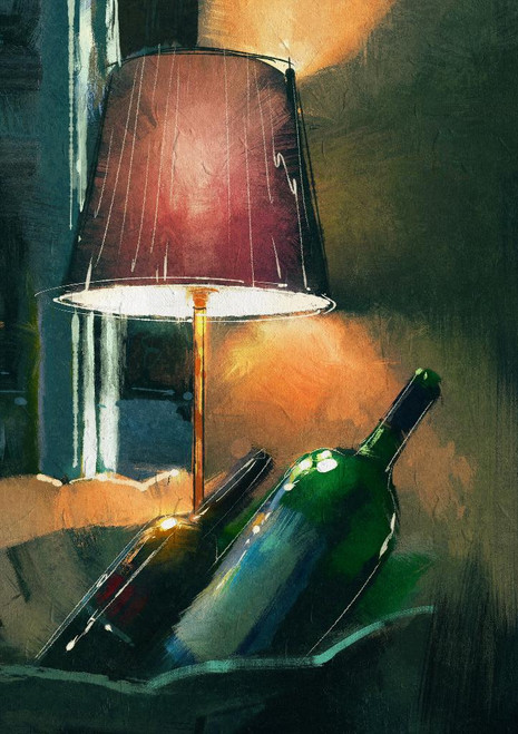 A Couple Of Wine Bottle And Lamp (PRT_1011) - Canvas Art Print - 17in X 24in