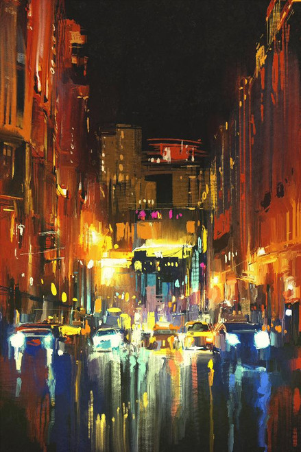 Night City In The Rain With Reflections (PRT_1012) - Canvas Art Print - 18in X 27in