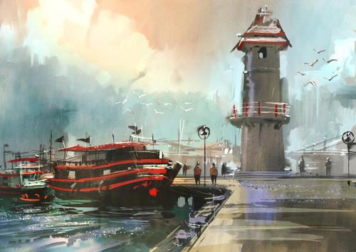 Fishing Boat In Harbor 2 (PRT_1014) - Canvas Art Print - 23in X 17in