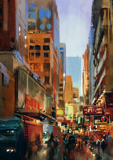 Urban Street With Buildings (PRT_1015) - Canvas Art Print - 17in X 24in