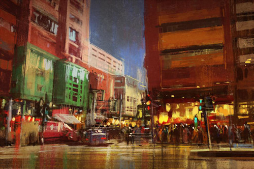 Urban Street With Buildings 2 (PRT_1016) - Canvas Art Print - 22in X 14in