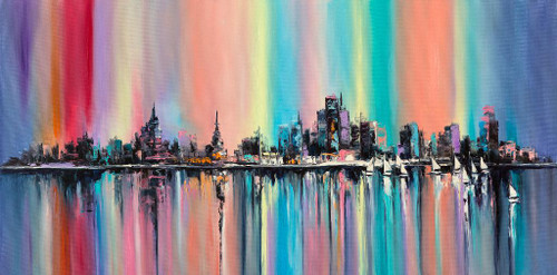 Rainbow City (PRT_1018) - Canvas Art Print - 43in X 21in