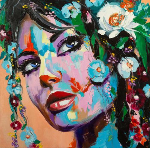Flowery Mood (PRT_1020) - Canvas Art Print - 21in X 21in