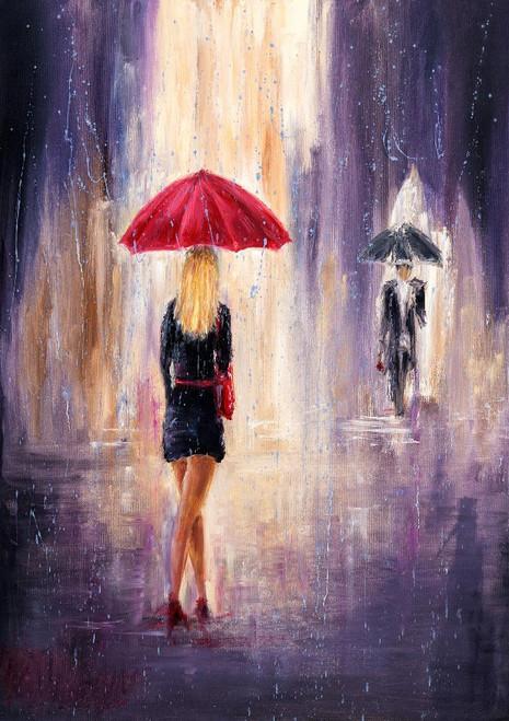 Walking In The Rain (PRT_1023) - Canvas Art Print - 17in X 24in