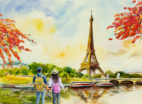 Couple At Eiffel Tower (PRT_1025) - Canvas Art Print - 29in X 21in