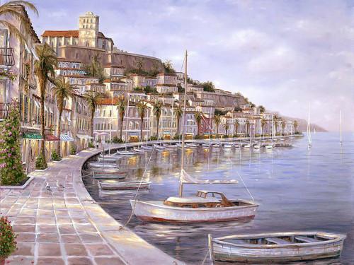 81Landscape02 - 40in X 30in,81Landscape02_4030,Blue, Violet, Mauve,100X75 Size,Landscape and Seascape;Latest Collection Art Canvas Painting