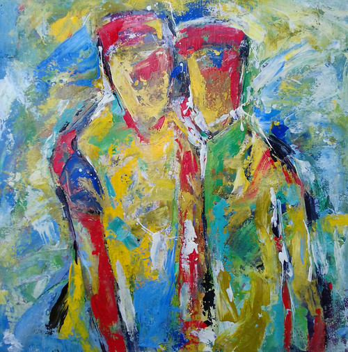Two Figures (ART_5884_34312) - Handpainted Art Painting - 23in X 23in