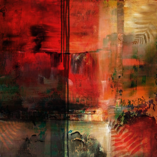 RedMystique - 32in X 32in,31ABT389_3232,Red, Pink, Orange,80X80,Abstract Art Canvas Painting