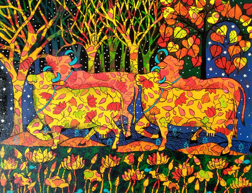 COLOURFUL COWS -1 (ART_1968_34576) - Handpainted Art Painting - 18in X 14in