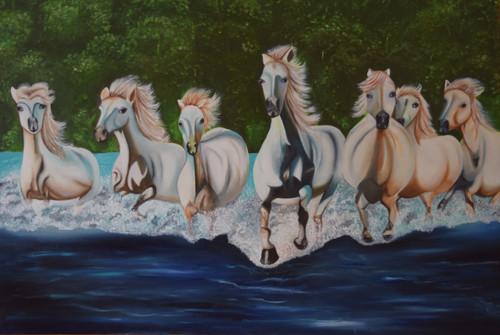 Seven running horses (ART_5962_34537) - Handpainted Art Painting - 48in X 36in (Framed)