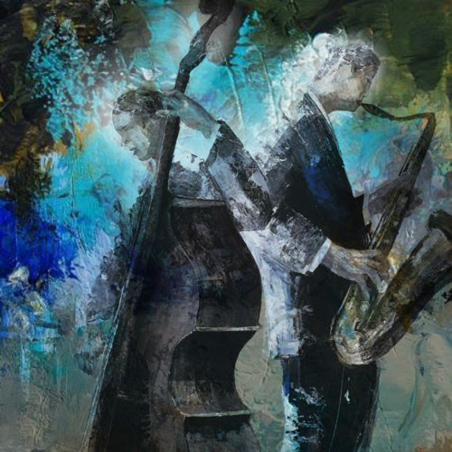 28Jazz15 - 24in X 24in,28Jazz15_2424,Blue, Violet, Mauve,60X60 Size,Modern Art;Latest Collection Art Canvas Painting