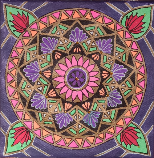 Colorpop Neon Mandala  (ART_5828_35103) - Handpainted Art Painting - 6in X 6in (Framed)