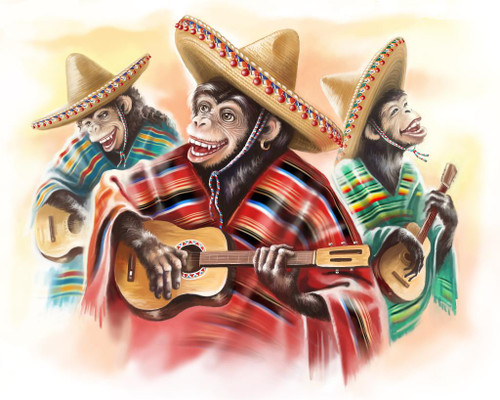 Monkeys Playing Guitar And Enjoying Life, Funny Painting (PRT_1026) - Canvas Art Print - 27in X 21in
