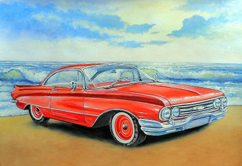 Vintage Red Car On Beach (PRT_1027) - Canvas Art Print - 21in X 14in