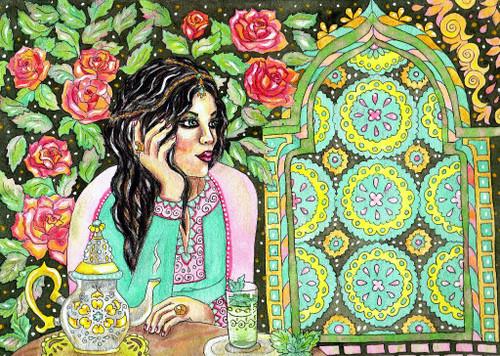 Beautiful Woman In Traditional Dress (PRT_1028) - Canvas Art Print - 21in X 15in