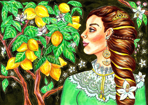 Beautiful Woman In Traditional Dress (PRT_1029) - Canvas Art Print - 30in X 21in
