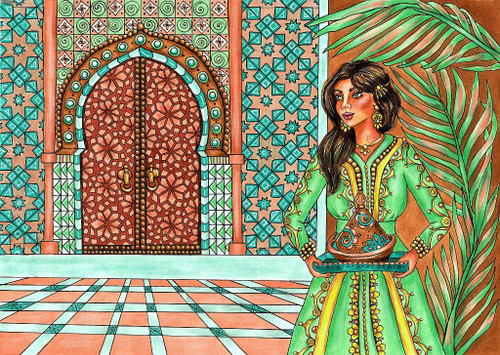 Lady In Traditional Dress (PRT_1030) - Canvas Art Print - 28in X 20in
