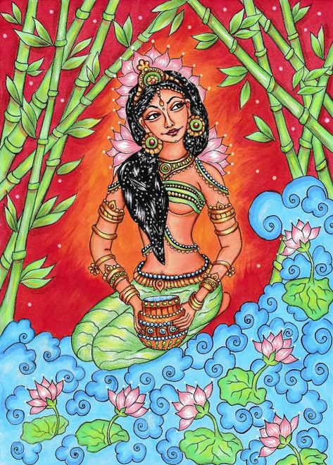 Kerala Mural, Traditional Indian Painting (PRT_1032) - Canvas Art Print - 21in X 30in
