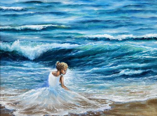 Wavy Woman On Beach (PRT_1036) - Canvas Art Print - 21in X 16in