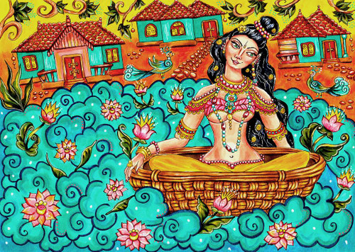 Kerala Mural Lady Painting, Traditional Indian Art (PRT_1037) - Canvas Art Print - 20in X 15in