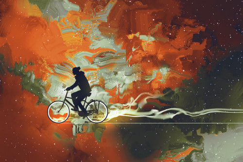 Cycling Through Life (PRT_1040) - Canvas Art Print - 26in X 17in