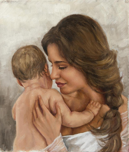 Portrait Of A Woman With A Baby (PRT_1042) - Canvas Art Print - 19in X 22in