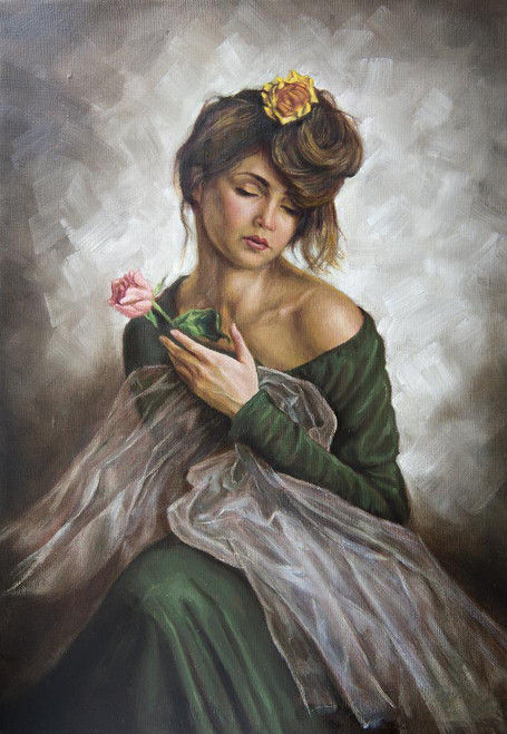 Portrait Of A Young Lady With A Rose (PRT_1044) - Canvas Art Print - 19in X 27in
