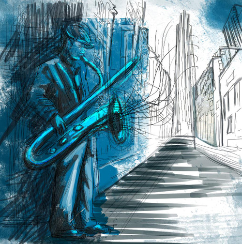 The Saxophonist (PRT_1048) - Canvas Art Print - 21in X 21in