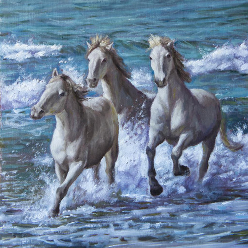Horses By Sea (PRT_1051) - Canvas Art Print - 18in X 18in