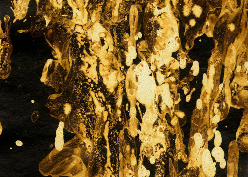 Golden Black Abstract (PRT_1059) - Canvas Art Print - 21in X 15in