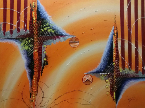 Down to earth (ART_2913_21688) - Handpainted Art Painting - 40in X 30in