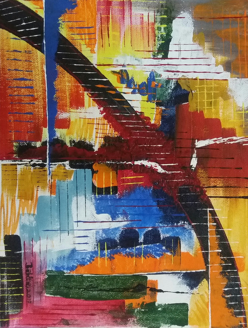 VICTORY OF GOOD OVER EVIL (ART_2913_20322) - Handpainted Art Painting - 12in X 9in