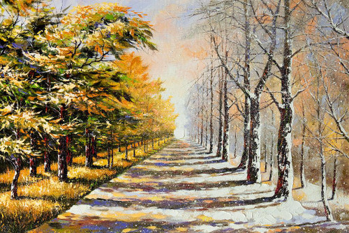 Beautiful Walkway, Road On A Winter Evening (PRT_1064) - Canvas Art Print - 29in X 20in